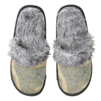 Vintage Map of New York City (1846) Pair Of Fuzzy Slippers
