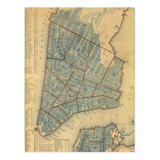 Vintage Map of New York City (1846) Postcard