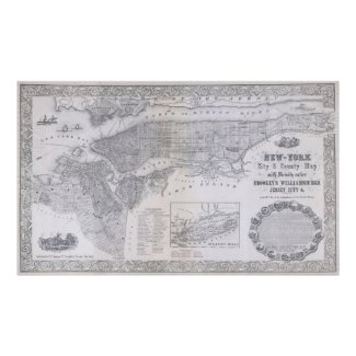 Vintage Map of New York City (1855) Poster