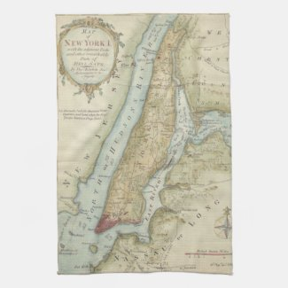 Vintage Map of New York City (1869) Kitchen Towels