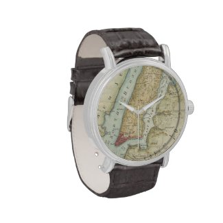 Vintage Map of New York City (1869) Wrist Watch