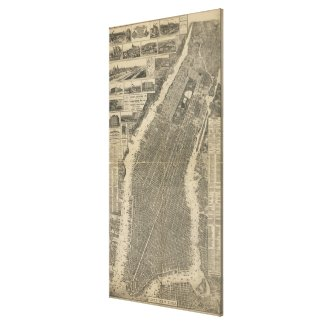 Vintage Map of New York City (1879) 4 Canvas Print