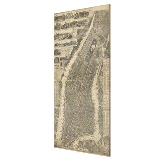 Vintage Map of New York City (1879) 4 Canvas Print
