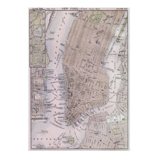 Vintage Map of New York City (1884) Print
