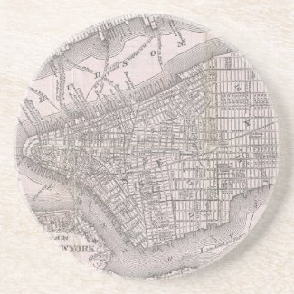 Vintage Map of New York City (1886) Beverage Coasters