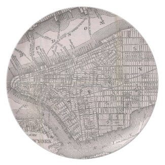 Vintage Map of New York City (1886) Dinner Plate