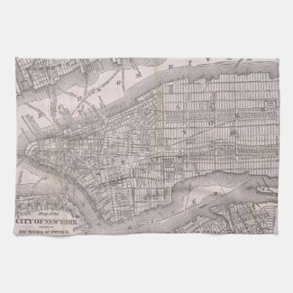 Vintage Map of New York City (1886) Hand Towels