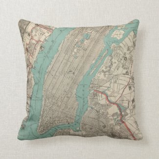 Vintage Map of New York City (1890) Throw Pillows