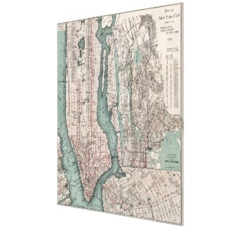 Vintage Map of New York City (1897) Canvas Print