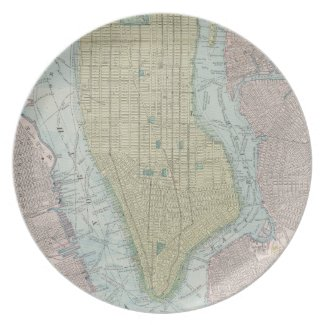 Vintage Map of New York City (1901) Party Plate