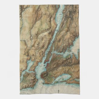 Vintage Map of New York City Harbor (1864) Hand Towels