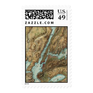 Vintage Map of New York City Harbor (1864) Stamp