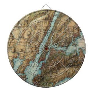 Vintage Map of New York Harbor (1864) Dartboard With Darts