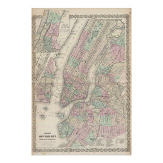 Vintage Map of NYC and Brooklyn (1865) Print