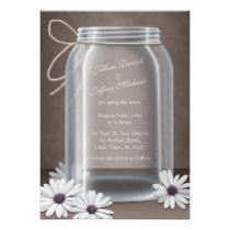 Vintage Mason Jar Daisy Brown Wedding Invitations