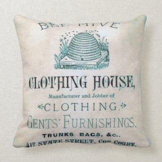 Vintage Mens Clothing Advertisement Pillow