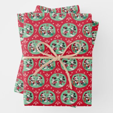 Vintage Mickey & Minnie | Cozy Christmas Pattern Wrapping Paper Sheets