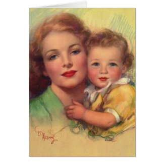Vintage Mother and Child Portrait Card