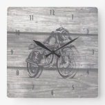 VIntage motorcycle drawing on barn wood Square Wall Clock
