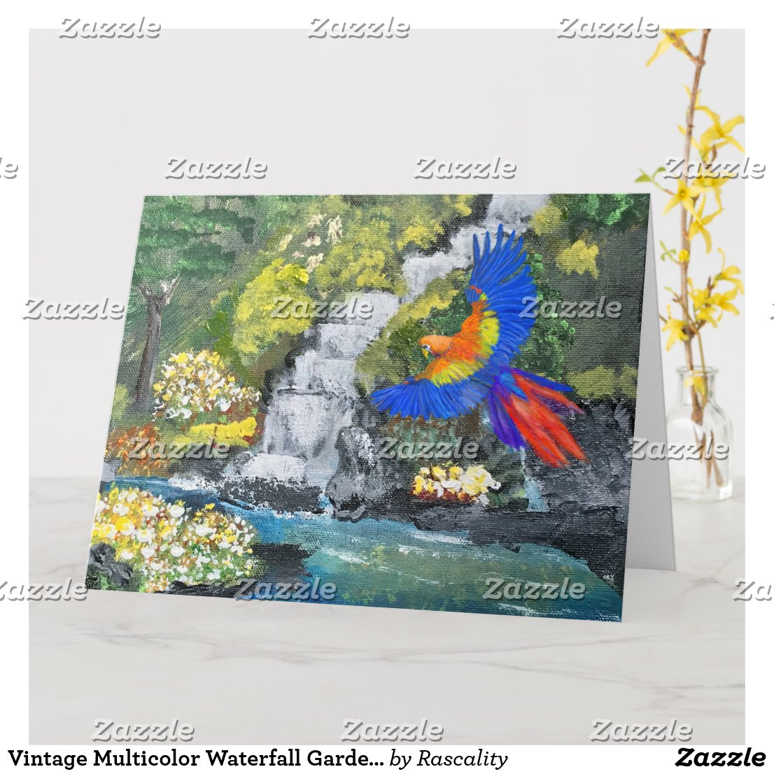 Vintage Multicolor Waterfall Garden Scene Painting Card