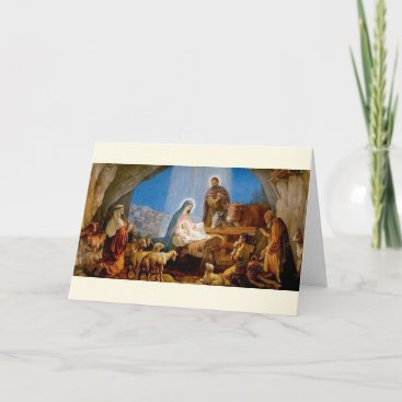 Vintage Nativity Scene Religious Christmas Card
