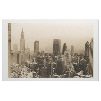 Vintage New York City Skyline Photograph (1935) Fabric