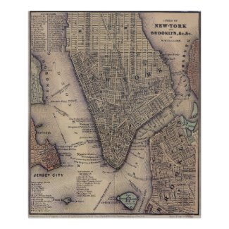 Vintage NYC and Brooklyn Map (1847) Posters