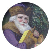Vintage Old World Santa Claus Christmas Plate plate