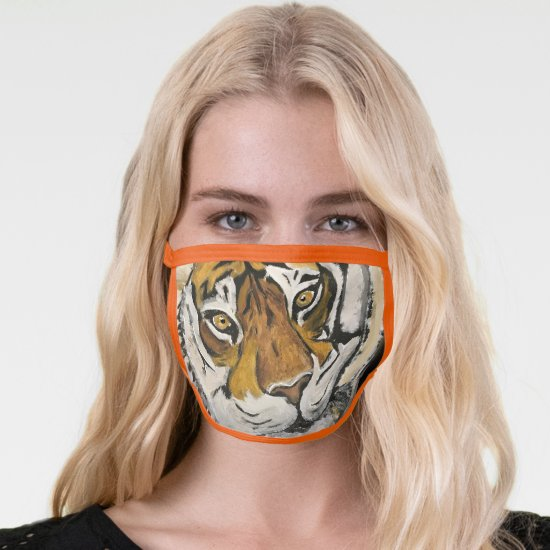 Vintage Orange Acrylic Tai Chi Tiger All-Over Face Mask