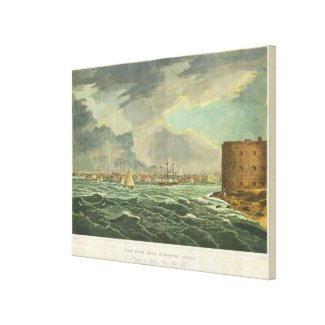 Vintage Painting of New York City (1825) Canvas Print