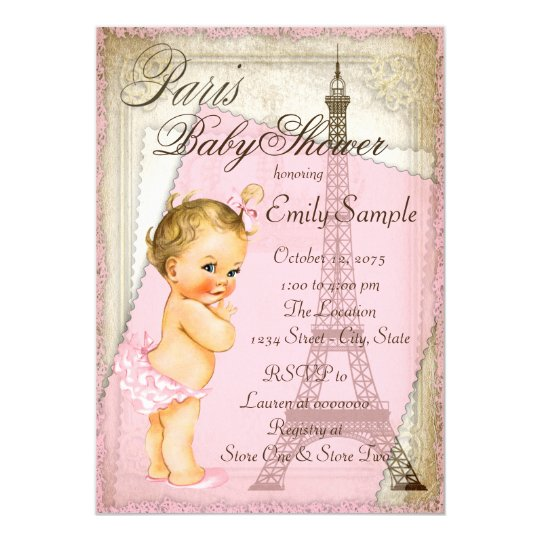 Vintage Paris Baby Shower Invitation