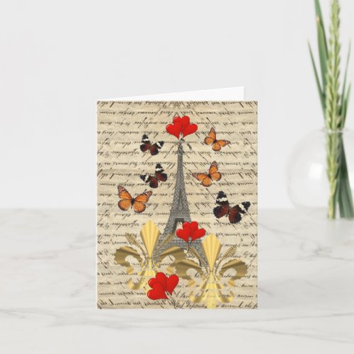 Vintage Paris & butterflies Holiday Card