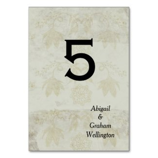 Vintage Pattern Table Number Card Table Cards