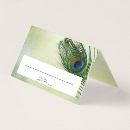 Vintage Peacock Feather Wedding Folded Place Card