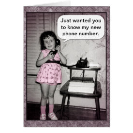 Vintage Photo Custom Telephone Girl New Number Card