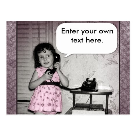 Vintage Photo of Girl on Phone Custom Text Postcard
