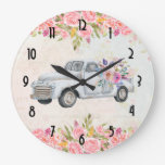 Vintage Pickup Truck Rustic Watercolor Large Clock