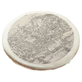 Vintage Pictorial Map of New York City (1672) Sugar Cookie