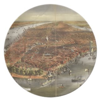 Vintage Pictorial Map of New York City (1870) Dinner Plate
