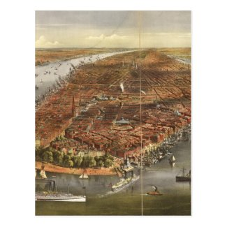 Vintage Pictorial Map of New York City (1870) Postcards
