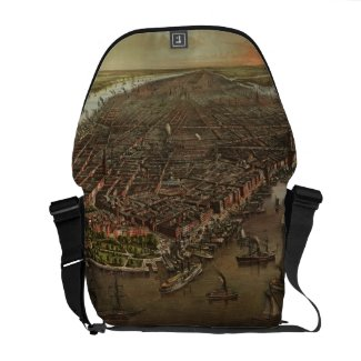 Vintage Pictorial Map of New York City (1873) Messenger Bag
