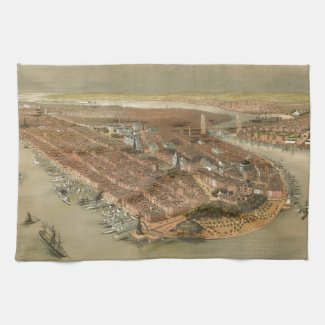 Vintage Pictorial Map of New York City (1874) Hand Towel