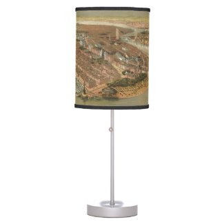 Vintage Pictorial Map of New York City (1874) Desk Lamp