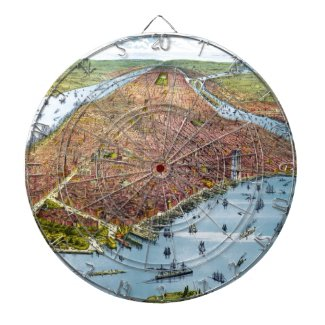 Vintage Pictorial Map of New York City (1879) Dart Board