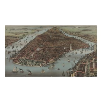Vintage Pictorial Map of New York City (1883) Posters