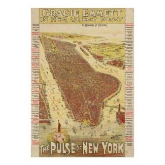 Vintage Pictorial Map of New york City (1891) Poster