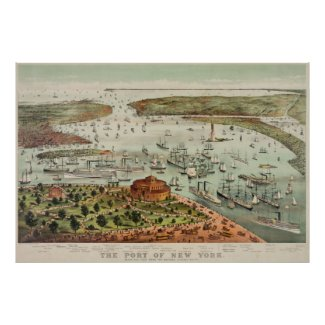 Vintage Pictorial Map of The Port of New York Poster