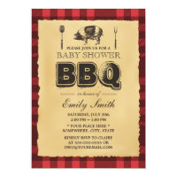 Vintage Pig Roast Baby Shower BBQ Card
