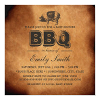 Vintage Pig Roast Baby Shower BBQ Party Card
