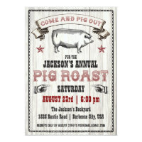 Vintage Pig Roast Invitation on Wood